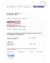 Certyfikat EN ISO 14001:2004 - zdjęcie