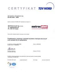 Certyfikat EN ISO 9001:2008 - zdjęcie