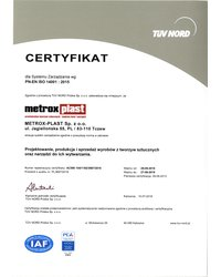 Certyfikat PN-EN ISO 14001:2015 - zdjęcie