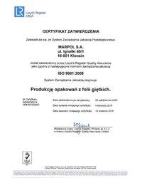 Certyfikat zatwierdzenia Systemu Zarządzania Jakością - zdjęcie