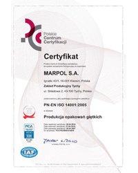 Certyfikat PN-EN ISO 14001:2005 - zdjęcie