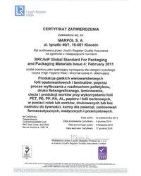 Certyfikat Zatwierdzenia: Produkcja giętkich wielowarstwowych folii opakowaniowych i laminatów (ważność: 2015-12-17) - zdjęcie