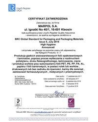 Certyfikat Zatwierdzenia: Produkcja giętkich wielowarstwowych folii opakowaniowych i laminatów (ważność: 2018-12-17) - zdjęcie