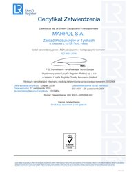 Certyfikat Zatwierdzenia: zgodny z normami ISO 9001:2015 (ważność: 2019-10-27) - zdjęcie