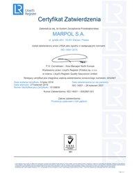 Certyfikat Zatwierdzenia: zgodny z normami ISO 14001:2015 (ważność: 2019-04-27) - zdjęcie