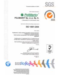 Certyfikat ISO 14001: 2004 - zdjęcie