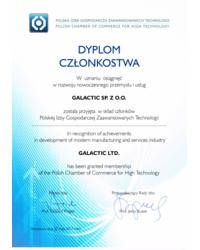 Dyplom Członkostwa w Polskiej Izbie Gospodarczej Zaawansowanych Technologii - zdjęcie