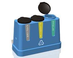 Pojemnik do segregacji odpadów Trojak Mini 3x120 l - zdjęcie