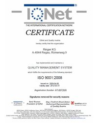 Certyfikat ISO 9001:2008 IQNet - zdjęcie