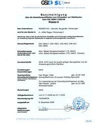 Certyfikat DIN 18800-7:2002-09 - zdjęcie