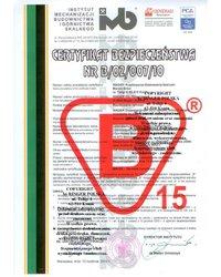 Certyfikat Bezpieczeństwa nr B/02/007/10 - zdjęcie