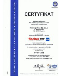 Certyfikat ISO 9001:2008 dla fischerpolska - zdjęcie