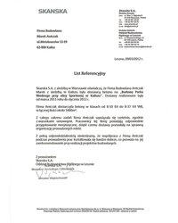 Skanska - List Referencyjny - zdjęcie
