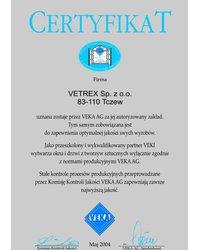 Certyfikat VEKA (2004) - zdjęcie