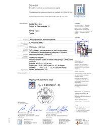 Certyfikat IFT Rosenheim. Badanie na przenikalność ciepła Vetrex Alphaline 90 (V90+) (2008) - zdjęcie