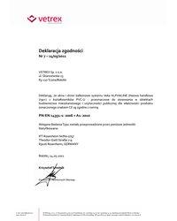 Deklaracja zgodności - Veka Alphaline (2011) - zdjęcie