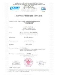 """Certyfikat zgodności - okucia """"RU"""" ROTO NT (2005) - zdjęcie"""