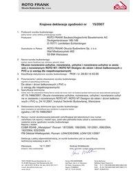 """Certyfikat zgodności okien i drzwi balkonowych """"R"""" i """"RU"""" ROTO NT dwudzielnych bez słupka (2007) - zdjęcie"""