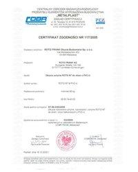 """Certyfikat zgodności - okucia """"U"""" ROTO NT (2005) - zdjęcie"""