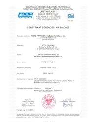 """Certyfikat zgodności - okucia """"R"""" ROTO NT (2005) - zdjęcie"""