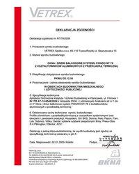 Deklaracja zgodności okna i drzwi balkonowe NT/78/2009 (2009) - zdjęcie