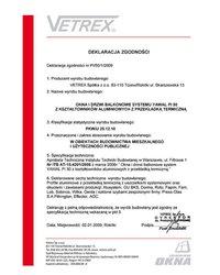 Deklaracja zgodności okna i drzwi balkonowe PI/50/1/2009 (2009) - zdjęcie