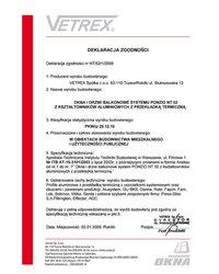 Deklaracja zgodności okna i drzwi balkonowe NT/52/1/2009 (2009) - zdjęcie