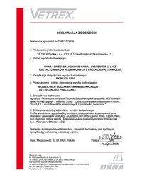 Deklaracja zgodności okna i drzwi balkonowe TM/62/1/2009 (2009) - zdjęcie