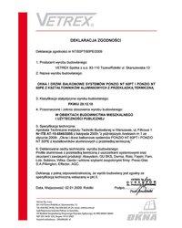 Deklaracja zgodności okna i drzwi balkonowe NT/60PT/60PE/2009 (2009) - zdjęcie