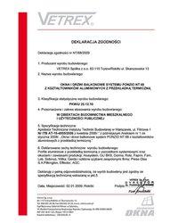 Deklaracja zgodności okna i drzwi balkonowe NT/68/2009 (2009) - zdjęcie