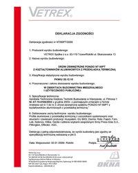 Deklaracja zgodności drzwi zewnętrzne NT/60PT/2009 (2009) - zdjęcie