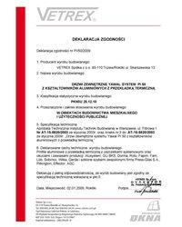 Deklaracja zgodności drzwi zewnętrzne PI/50/2009 (2009) - zdjęcie