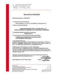 Deklaracja zgodności drzwi zewnętrzne TM/62/2009 (2009) - zdjęcie