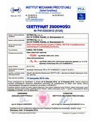 Certyfikat zgodności - Klasa odporności ogniowej EI60 (2012) - zdjęcie
