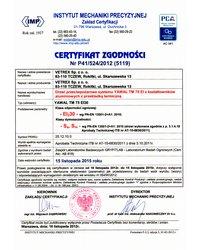 Certyfikat zgodności - Klasa odporności ogniowej EI30 (2012) - zdjęcie