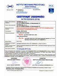 Certyfikat zgodności - Klasa odporności ogniowej EI15 (2012) - zdjęcie
