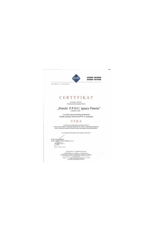 Certyfikat VEKA - zdjęcie