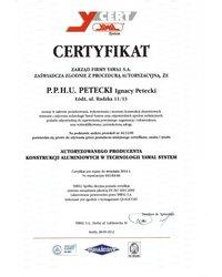 Certyfikat Yawal System - zdjęcie