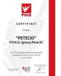 Certyfikat Związku Polskie Okna i Drzwi - zdjęcie