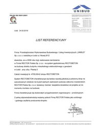 List referencyjny UNIBUD - zdjęcie