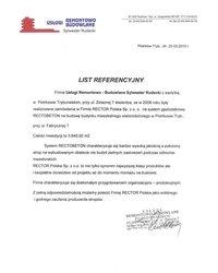 List referencyjny Usługi Remontowo - Budowlane Sylwester Rudecki - zdjęcie