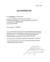 List referencyjny ATLANT2 Sp.j. - zdjęcie