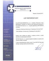List referencyjny INSTALBUD-RZESZÓW Sp z.o.o. - zdjęcie