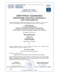 Certyfikat Zgodności Zakładowej Kontroli Produkcji 2487-CPR-25 ZKP 10 - zdjęcie