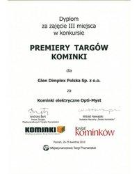 Dyplom - III miejsce dla kominków elektrycznych Opti-Myst - Kominki 2010 - zdjęcie