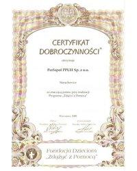 Certyfikat Dobroczynności 2008 - zdjęcie