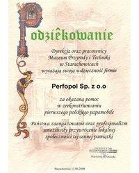 Podziękowanie - Muzeum Przyrody i Techniki w Starachowicach - zdjęcie