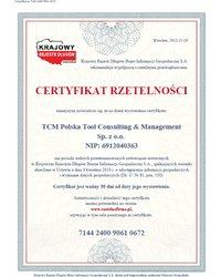 Certyfikat Rzetelności - zdjęcie