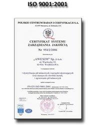 Certyfikat ISO 9001:2001 - zdjęcie