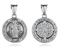 Srebrny oksydowany medalik pr.925 Święty Benedykt - zdjęcie